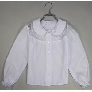 Блуза Дина гипюровая вставка цвет белый