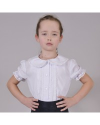 Блуза Дина короткий рукав цвет белый
