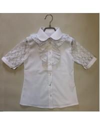 Блуза Маруся цвет белый короткий рукав