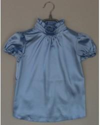 Блуза Сонечка атлас  короткий рукав цвет голубой
