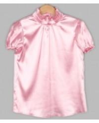 Блуза Сонечка атлас  короткий рукав цвет розовый
