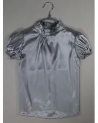 Блуза Сонечка атлас  короткий рукав цвет серый