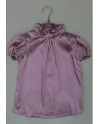 Блуза Сонечка атлас  короткий рукав цвет сирень