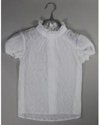 Блуза Сонечка   атлас короткий рукав цвет белый
