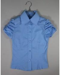 Блуза Светлана короткий рукав цвет голубой
