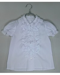 Блуза Виктория короткий рукав цвет белый