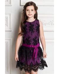 Платье F22.135 темно розовый черный