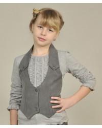 Жилет для девочки с открытой спиной серый