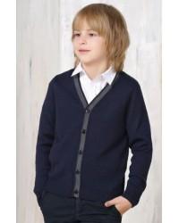 Жакет для мальчика трикотажный 746 синий серый