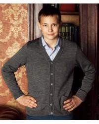 Жакет для мальчика трикотажный 746 серый