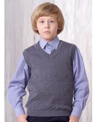 Жилет для мальчика трикотаж 749 серый